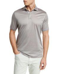 Ermenegildo Zegna - Gray Mercerized Cotton Polo Shirt for Men - Lyst
