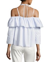 Jonathan Simkhai - Blue Cold-shoulder Flare Oxford Top - Lyst