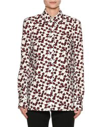 Marni | Red Printed Poplin Long-sleeve Blouse | Lyst
