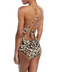 Carmen Marc Valvo - Green Reflections Printed Plunging One-piece Swimsuit - Lyst