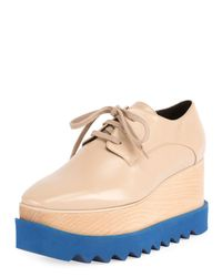 Stella McCartney - Natural Elyse Brogue Faux-leather Platform Oxford - Lyst