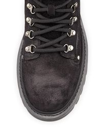 Moncler - Black Egide Suede Hiking Boot With Shearling Trim for Men - Lyst