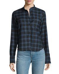 Helmut Lang - Gray Shrunken Plaid Pullover Shirt - Lyst