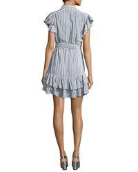 Rebecca Taylor - Blue Cap-sleeve Striped Ruffled Dress - Lyst