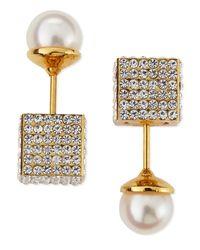 Vita Fede - Metallic Double Cubo Crystal Pearl Earrings - Lyst