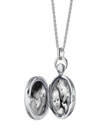 Monica Rich Kosann - Metallic Mother-of-pearl Petite Stone Silver Locket Necklace - Lyst