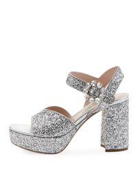 Miu Miu - Multicolor Glittered Platform Block-heel Sandals - Lyst