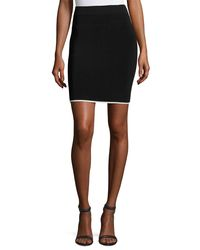 T By Alexander Wang - Black Pencil Skirt W/ Tipping - Lyst