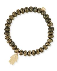 Sydney Evan - Metallic 8mm Champagne Pyrite Beaded Bracelet With 14k Hamsa Charm - Lyst