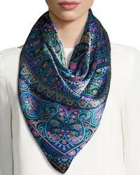 Liberty | Blue Andromeda Square Paisley Silk Satin Scarf | Lyst