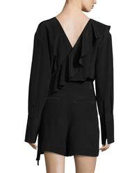 Diane von Furstenberg - Black Ruffle-trim Belted Silk Romper - Lyst