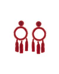 Oscar de la Renta - Red Large Beaded Circle Tassel Clip On Earrings - Lyst