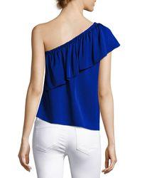 MILLY - Blue Ruffled One-shoulder Stretch-silk Top - Lyst