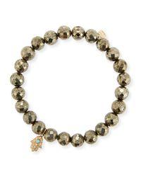 Sydney Evan - Metallic 8mm Champagne Pyrite Beaded Bracelet With Diamond & Turquoise Hamsa - Lyst