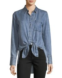 7 For All Mankind Blue Button-front High-low Tie-hem Denim Shirt