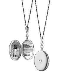 Monica Rich Kosann - Metallic Silver Rose-cut White Sapphire Locket Necklace - Lyst