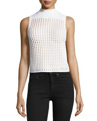 Rag & Bone - White Ingrid Sleeveless Eyelet Mesh Top - Lyst