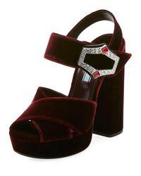 Prada - Black Jeweled Velvet Block-heel Sandals - Lyst