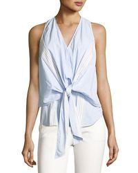 10 Crosby Derek Lam - Blue Sleeveless Poplin Wrap Top - Lyst