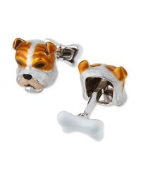 Jan Leslie - Metallic Sterling Silver And Enamel Dog Face Cuff Links for Men - Lyst