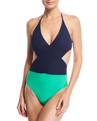Tory Burch - Blue Colorblock Wrap-front One-piece Swimsuit - Lyst