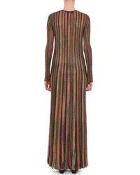 Missoni - Brown Plunging Long-sleeve Metallic Striped Long Dress - Lyst