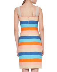 Akris Punto - Blue Striped Cotton-silk Sleeveless Dress - Lyst