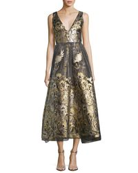 Notte by Marchesa | Metallic Sleeveless Floral Lamé Fil Coupe Cocktail Dress | Lyst