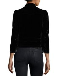 Rebecca Taylor - Black Velvet Zip-front Motorcycle Jacket - Lyst