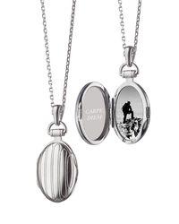 Monica Rich Kosann - Metallic Sterling Silver Petite Pinstripe Locket - Lyst