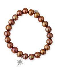 Sydney Evan - Pink Champagne Pearl Bead Bracelet W/ 14k Starburst Charm - Lyst