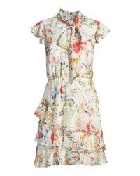 Alice + Olivia - White Leslie Tie-neck Floral-print Silk Ruffle Dress - Lyst