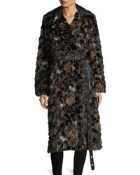 Helmut Lang | Brown Tortoise Faux-fur Shawl-collar Belted Coat W/ Faux-leather Trim | Lyst