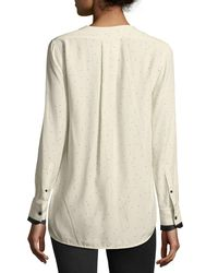 Rag & Bone - White Victor Speckled Long-sleeve Draped Silk Blouse - Lyst