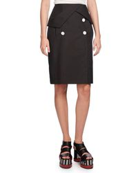 Proenza Schouler | Black Heavy Poplin Pencil Skirt | Lyst