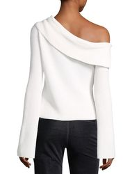 Theory - White One-shoulder Fold-over Long-sleeve Ribbed Sweater - Lyst