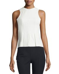 T By Alexander Wang | White Sleeveless Paneled Stretch Twill Top | Lyst