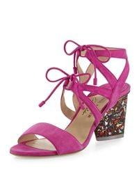 Edie Parker - Pink Rhoda Suede Glitter-heel Sandal - Lyst