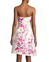Monique Lhuillier - Pink Strapless Cherry Blossom-print Cocktail Dress - Lyst