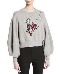 Oscar de la Renta - Gray Cropped Cotton Sweatshirt With Bird-coral Embroidery - Lyst