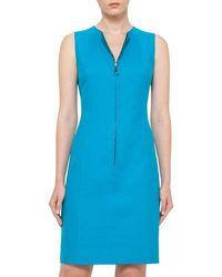 Akris - Blue Reversible Sleeveless Zip-front Sheath Dress - Lyst