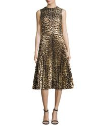 RED Valentino | Black Sleeveless Leopard-print Pleated Dress | Lyst