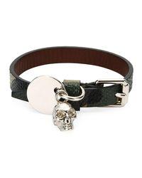 Alexander McQueen - Black Men's Leather Skeleton Charm Bracelet for Men - Lyst