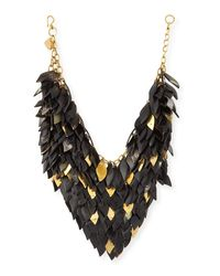 Ashley Pittman | Black Tanzu Dark Horn Layered Chain Leaf Necklace | Lyst