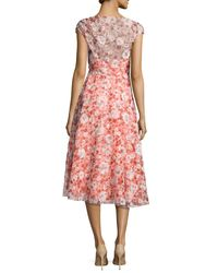 Lela Rose - Red Flocked Poppy-print Organza Dress - Lyst