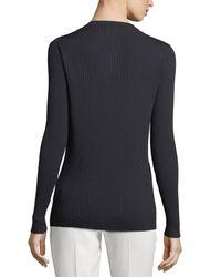 Lafayette 148 New York Blue Modern Rib-knit Button-front Cardigan