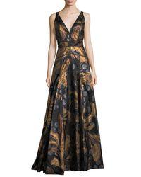J. Mendel - Black Sleeveless V-neck Brocade Gown - Lyst