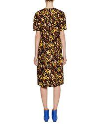 Marni - Multicolor Short-sleeve Crewneck A-line Printed Cotton Woven Dress - Lyst