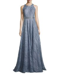 Carmen Marc Valvo   Blue Sleeveless Metallic Floral Gown   Lyst