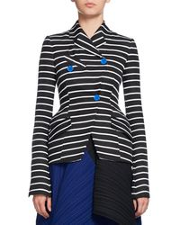 Proenza Schouler - Black Striped Asymmetric Suiting Jacket - Lyst